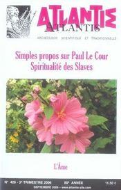 Simples propos sur Paul Le Cour ; l'âme - Intérieur - Format classique