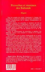 Proverbes et maximes des Bahunde Migani - Couverture - Format classique