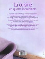 Cuisine En Quatre Ingredients (La) - 4ème de couverture - Format classique