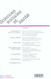 Revue Sciences Sociales Et Sante N.22 ; Recours Aux Soins Et Fièvre Chez L'Enfant ; Dépistage Néonatal De La Mucoviscidose En Bretagne ; L'Espace Du Fauteuil Roulant - 4ème de couverture - Format classique