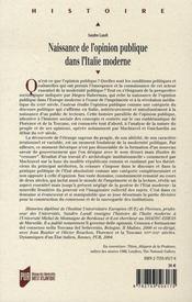 Naissance de l'opinion publique dans l'italie moderne - 4ème de couverture - Format classique