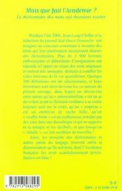 Mais Que Fait L'Académie ?. Le Dictionnaire Des Mots Qui Devraient Exister - 4ème de couverture - Format classique