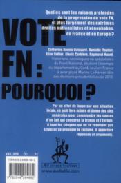 Vote FN, pourquoi ? - 4ème de couverture - Format classique