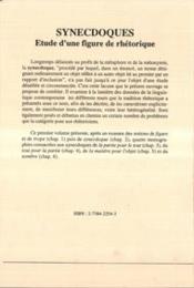 Synecdoques ; étude d'une figure de rhétorique t.1 - 4ème de couverture - Format classique