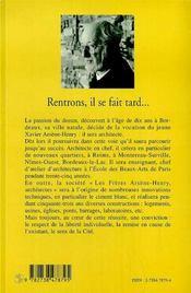 Rentrons, il se fait tard... le long voyage d'un architecte 1919-1998 - 4ème de couverture - Format classique