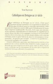 Catholiques en bretagne au xxe siècle - 4ème de couverture - Format classique