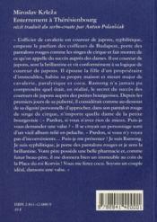 Enterrement à Thérésienbourg - 4ème de couverture - Format classique