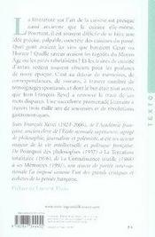 Un festin en paroles ; histoire littéraire de la sensibilité gastronomique de l'antiquité à nos jours - 4ème de couverture - Format classique