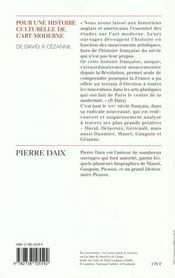 Pour Une Histoire Culturelle De L'Art Moderne - 4ème de couverture - Format classique