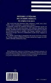 Histoire Litteraire De L'Europe Mediane Des Origines A Nos Jours - 4ème de couverture - Format classique
