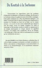 Du Kouttab A La Sorbonne ; Itineraire D'Un Talibe - 4ème de couverture - Format classique