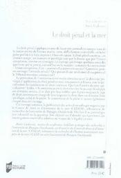 Le droit pénal et la mer - 4ème de couverture - Format classique