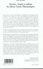 Histoire Rituels Et Tuileur Des Hauts Grades Maconniques - 4ème de couverture - Format classique