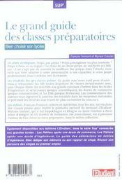Le grand guide des classes preparatiores : choisir son lycee - 4ème de couverture - Format classique