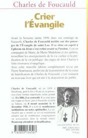 Crier L'Evangile - 4ème de couverture - Format classique