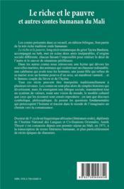 Le riche et le pauvre ; et autres contes bamanan du Mali - 4ème de couverture - Format classique