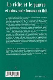 Le Riche Et Le Pauvre Et Autres Contes Bamanan Du Mali - 4ème de couverture - Format classique