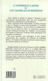 L'Amerique Latine Et Les Modeles Europeens - 4ème de couverture - Format classique
