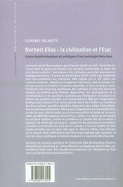 Norbert Elias : la civilisation et l'Etat ; enjeux épistémiologiques et politiques d'une sociologie historique - 4ème de couverture - Format classique