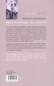 Littératures fantastiques t.3 ; 1914-1945 - 4ème de couverture - Format classique