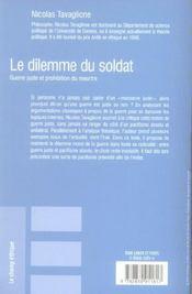 Le dilemme du soldat - 4ème de couverture - Format classique