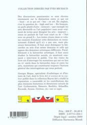 Majeur ou mineur ; les hierarchies en art - 4ème de couverture - Format classique
