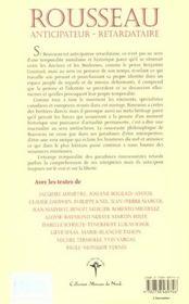 Rousseau Anticipateur Retardataire - 4ème de couverture - Format classique