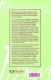 Predisposition Genetique Aux Cancers: Questions Psychologiques& Debats Societe - 4ème de couverture - Format classique