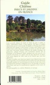 Guide de charme parcs et jardins en france 1999 - 4ème de couverture - Format classique