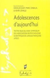 Adolescences d'aujourd'hui - Couverture - Format classique