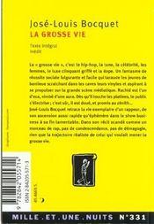 La Grosse Vie - 4ème de couverture - Format classique