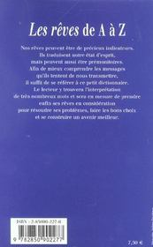 Les Reves De A A Z - 4ème de couverture - Format classique