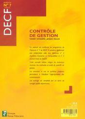 Controle De Gestion Decf Epreuve No7 Manuel - 4ème de couverture - Format classique
