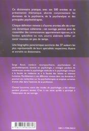 Psy Dictionnaire Pratique Et Thematique Psychiatrie Psychanalyse Psychotherapie - 4ème de couverture - Format classique