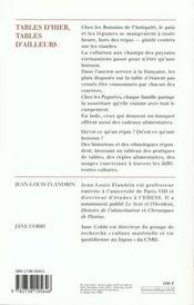 Tables D'Hier, Tables D'Ailleurs - 4ème de couverture - Format classique