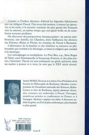Lumiere Et Tenebres Chez Pascal - 4ème de couverture - Format classique
