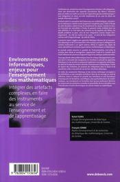 Environnements informatiques, enjeux pour l'enseignement des mathématiques - 4ème de couverture - Format classique