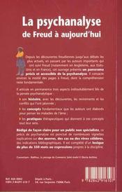 La Psychanalyse De Freud A Aujourd'Hui - 4ème de couverture - Format classique