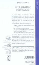 De La Grammaire Pour Traduire - 4ème de couverture - Format classique