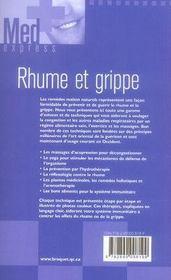 Rhume et grippe - 4ème de couverture - Format classique