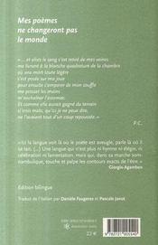 Mes poèmes ne changeront pas le monde - 4ème de couverture - Format classique