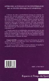 Approches Actuelles D'Une Epistemologie Des Activites Ohysiques Et Sportives - 4ème de couverture - Format classique