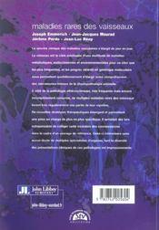 Maladies Rares Des Vaisseaux - 4ème de couverture - Format classique