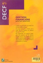 Gestion Financiere ; Decf, Epreuve N.4 - 4ème de couverture - Format classique