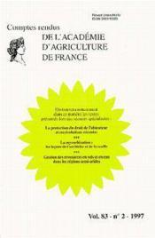 La protection du droit de l'obtenteur et ses evolutions recentes comptes rendus de l'aaf t.83 - Couverture - Format classique