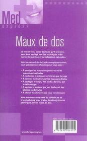 Maux de dos - 4ème de couverture - Format classique