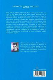 La Question Tamoule A Sri Lanka, 1977-1994 - 4ème de couverture - Format classique