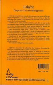 L'Algérie ; diagnostic d'un non-développement - 4ème de couverture - Format classique