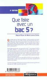 Que faire avec un bac s ; 2e edition - 4ème de couverture - Format classique