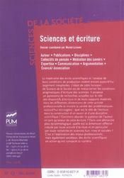 Sciences Et Ecritures - 4ème de couverture - Format classique